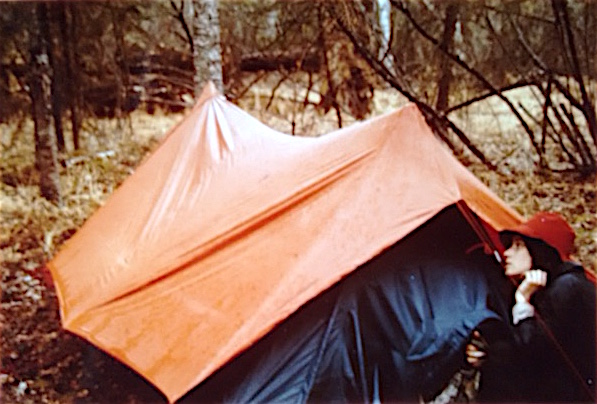 Pamela Buckingham and a camping tent
